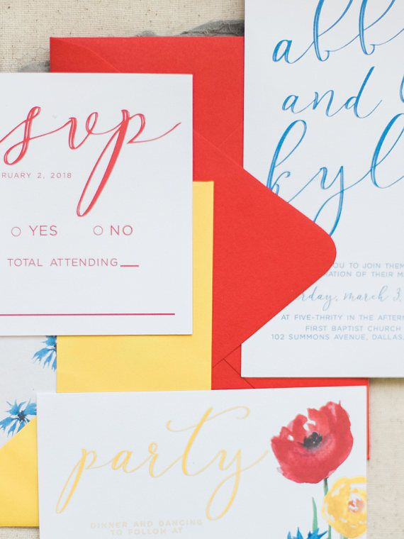 Primary colors make this fun invitation suite super trendy for 2018! Featuring gorgeous watercolor wildflowers with bright colored envelopes, the Abby suite is sure to set the tone for your whimsical or bohemian style wedding. Printed wedding invitations.
