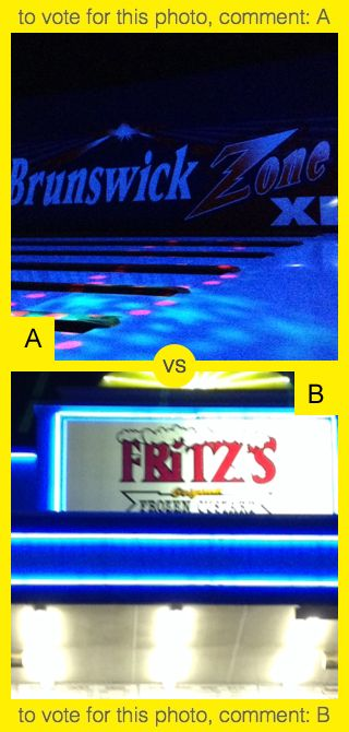 To vote for top photo comment A, to vote for bottom photo comment B. See results at http://swingvoteapp.com/#!polls/1470. Click here http://swingvoteapp.mobi/ to install Swingvote mobile app and create your own polls.