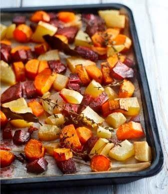 Een heerlijke schaal vol winterse groenten uit de oven...