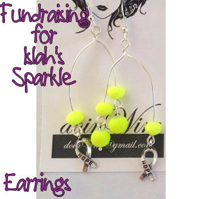 IslahsSparkle Earrings Wishbone with Lime Green Beads & Awareness Charms