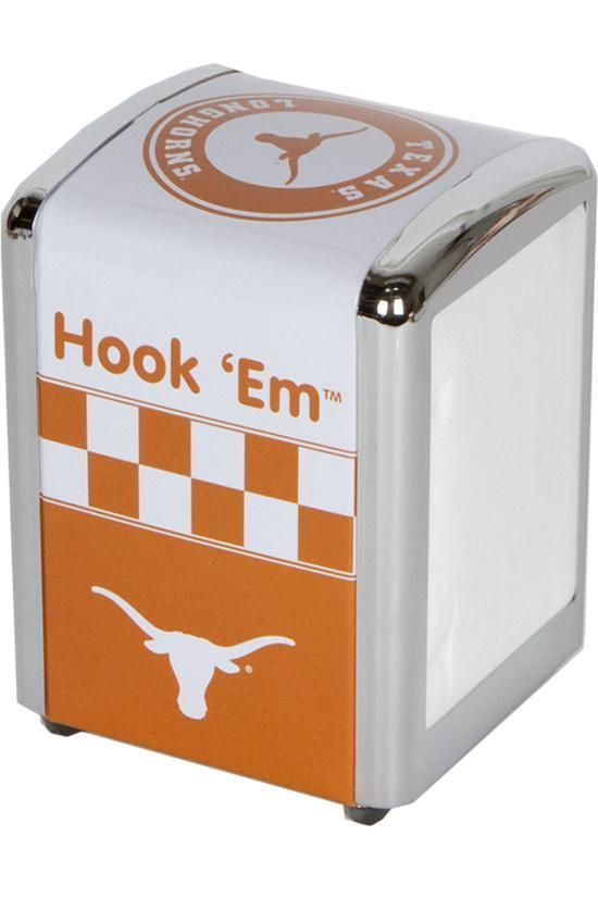 This metal napkin holder comes in Burnt Orange & White with the Longhorn on top & sides. Includes the phrase Hook 'Em on two sides as well. Get yours today!