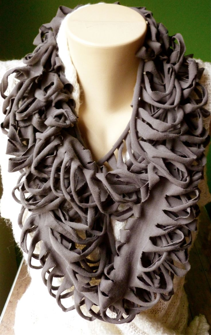 Upcycled T-shirt Scarf - Stormcloud Gray - Ribcage Style www.serendipitybylauren.etsy.com