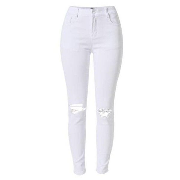 Rip Knee Skinny Jeans in White ($46) ❤ liked on Polyvore featuring jeans, pants, bottoms, calças, denim, white ripped jeans, cropped skinny jeans, white distressed skinny jeans, destroyed skinny jeans and mid rise skinny jeans