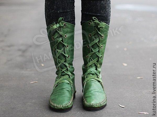 Купить Сапоги Мокасины из кожи со шнуровкой Зеленые - сапоги, угги, осенняя мода