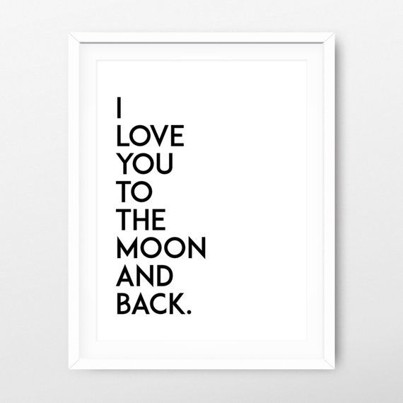 I love you to the moon and back printable art - valentine's print - valentine's poster - minimalist print - minimalist poster