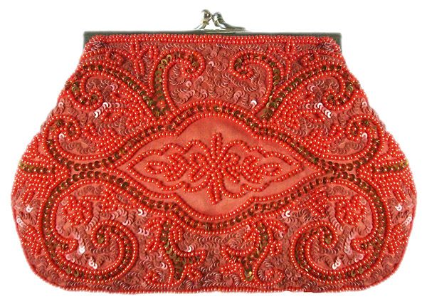 Moyna evening bag | beaded red satin clutch | You can see the rest of the outfit and description on this board.  -  Gabrielle