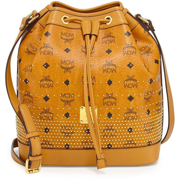 MCM Gold Visetos Drawstring Bag (€760) ❤ liked on Polyvore featuring bags, handbags, shoulder bags, mcm purse, studded bucket bag, shoulder strap bags, drawstring bag and yellow purse