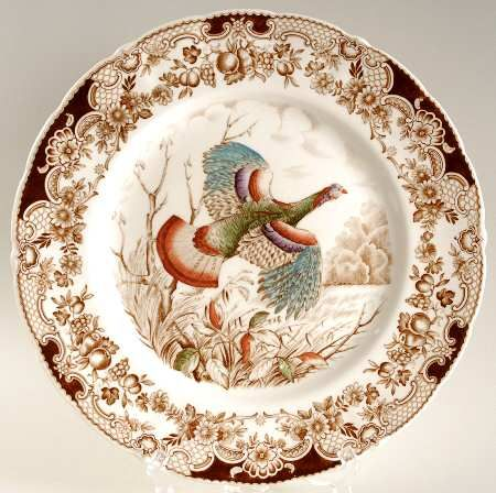 """Johnson Brothers,  """"Wild Turkeys.""""  The rim is the same as the Windsorware Harvest plates and would mix nicely.  They are highly collectible and currently priced at $89.95 at Replacements."""