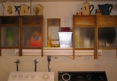 washboard cabinets for laundry room.  I think I would only have one washboard cabinet, most likely under the sink. The uppers would look similar or have the pull down hanging racks on the outside