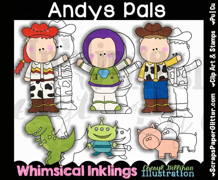 Andys Pals Clip Art, BONUS Lineart, Digital Stamps, Clipart, Black &  White, Line Art, Storybook, Toy Story, Disney Inspired, Movie, Cartoon by ResellerClipArt on Etsy