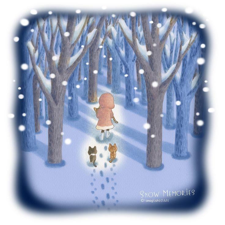 010 #雪の思い出 #Snow_memories #Снежные_воспоминания #Souvenirs_de_neige #Schnee_Erinnerungen . ウチで猫達が大所帯になった時から私は、最後に3匹になる日、そして2匹になる日を恐れてた 恐れるって言葉は少し違う、悲しい予感とでもいうような。。。 . このイラストはジンちゃんを埋葬した冬の朝の風景です。 チィちゃんとロロは部屋で埋葬が終わるのを待っていたので、これは私の心象風景です。 . 前日に亡くなったジンちゃんを抱き上げて部屋を出て、雪の中を歩いた。 後ろからチィちゃんとロロが付いてくるような気がしました。。。 . #ころろの森 #cololo_no_mori #コロコロころろ #colocolo_cololo #ころろ #cololo #くぅくっく #kuucook #ネコ #cat #亡くした悲しみ #sorrow #печаль #chagrin #Trauer #イラスト #illustration #YamagishiCAFE #picture