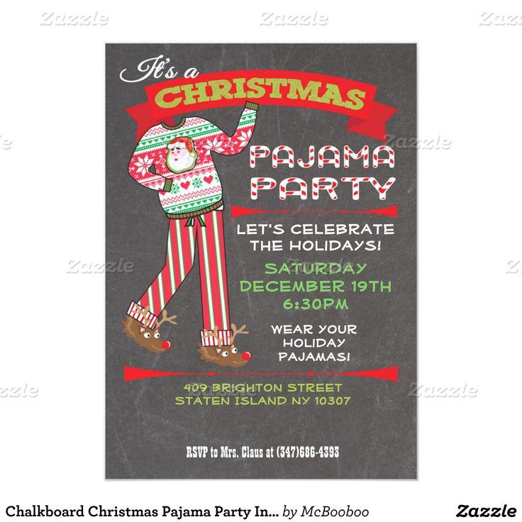 Chalkboard Christmas Pajama Party Invitations   Zazzle.com ...