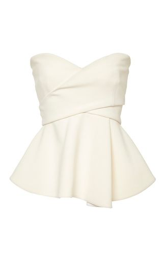 Soft White Strapless Corset with Metallic Bands by Derek Lam 10 Crosby Now Available on Moda Operandi