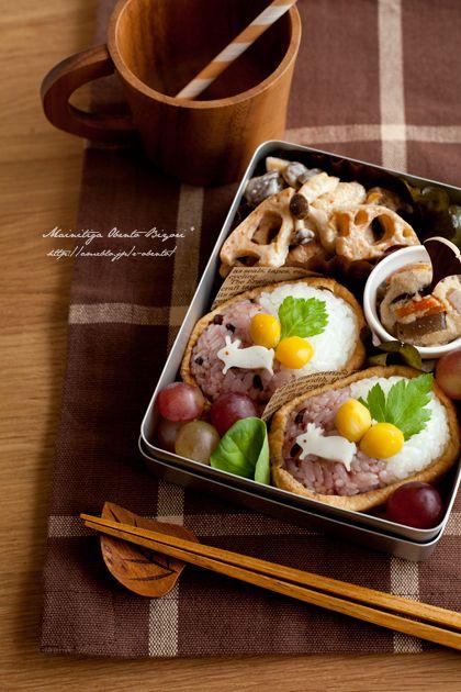 秋色うさぎの稲荷寿司弁当。 の画像|あ~るママオフィシャルブログ「毎日がお弁当日和♪」Powered by Ameba
