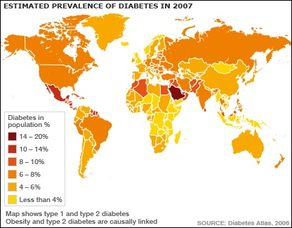 Map showing prevalence of diabetes