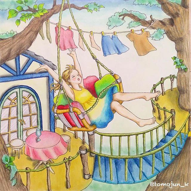 ・ 楽しそうですよ~💕ブランコ❣️ ただ、わがままを言えるなら、高所恐怖症の私は、下は地面であって欲しいかも🙈💦 ・ 高所恐怖症なのに、ジェットコースターは大好きなんですよねー😁👍 ・ ・ #大人の塗り絵 #コロリアージュ#井田千秋 #憧れのお部屋 #adultcoloringbook #adultcoloring #colouringbook #colouring#coloriage#木の上のお家#色鉛筆#油性色鉛筆#アイシャドウパレット#ブランコ#おとなのぬりえ#大人のぬりえ#