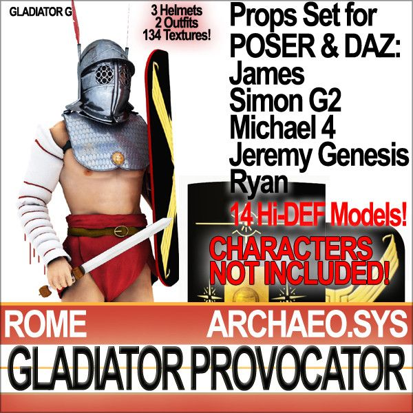 Roman Gladiator Provocator 14 HD props. All 3D models for POSER James, Simon G2, Ryan and free DAZ Michael 4, Jeremy Genesis. Faithful Recon...