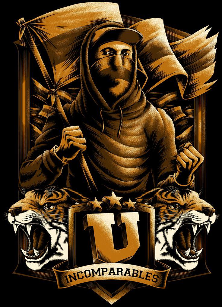 Illustration done for Tigres UANL,5 tints on black tee