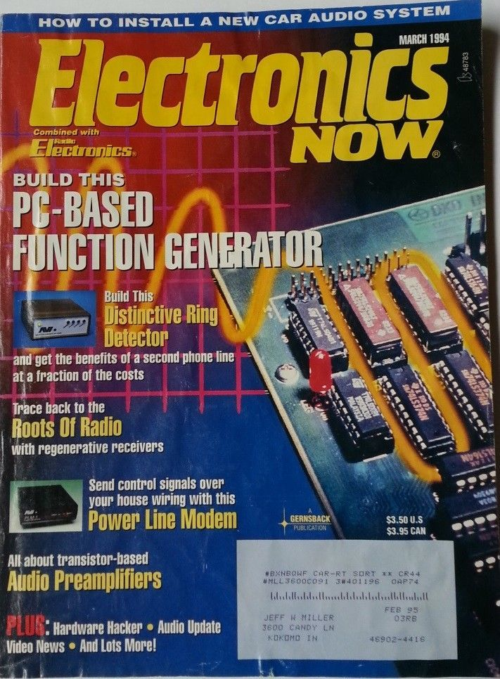 Electronics Now Magazine March 1994 Build the PC Based Function Generator +more!
