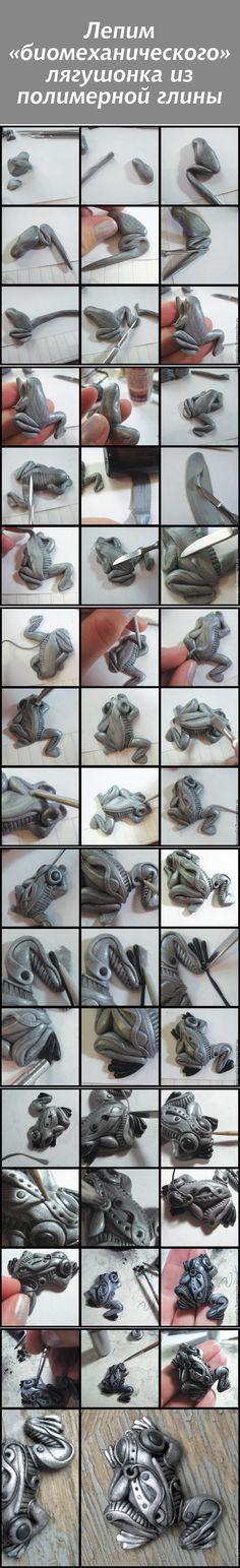 """Лепим """"биомеханического"""" лягушонка из полимерной глины #diy #polymerclay"""