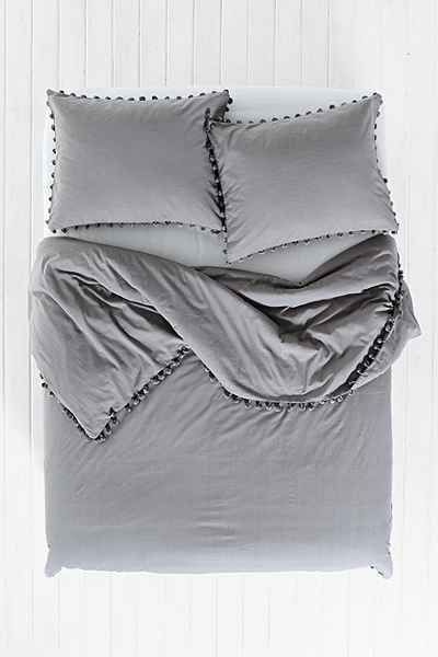 Urban Outfitters Magical Thinking gray ball Pom Fringe Duvet twin xl new 66 x 90