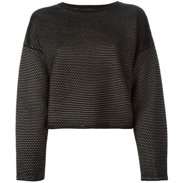Theory Boxy Cropped Sweater (6.920 ARS) ❤ liked on Polyvore featuring tops, sweaters, jumper, shirts, black, shirt top, boxy shirt, boxy top, theory shirts and jumper shirt