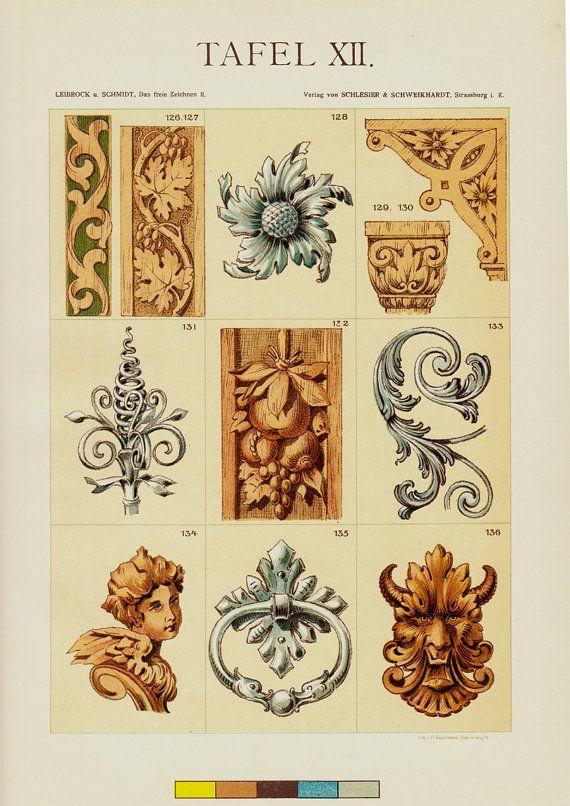 1903 des ARTS décoratifs antiques imprimées, bois et métalliques ornements pour architectures portes etc., chromolithographie