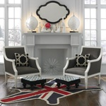 Jonathan Adler room inspiration. Love those pillows and the electric rug.