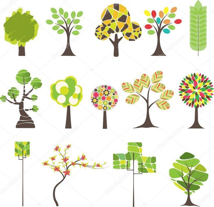 Descargar - Conjunto de árbol colorido. ilustración vectorial — Ilustración de stock #3731486