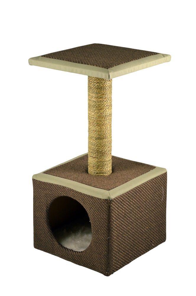 Tiragraffi per gatto con comoda casetta misure 30*30*61 h