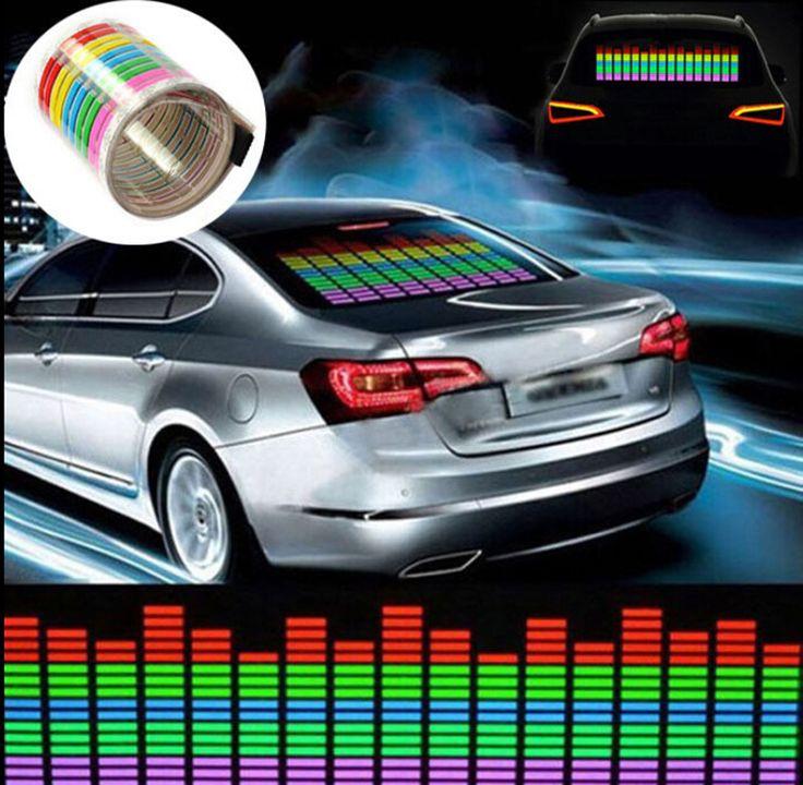 70 * 16cm Voiture Autocollant LED Musique Rythme Flash Lumière Son Activé