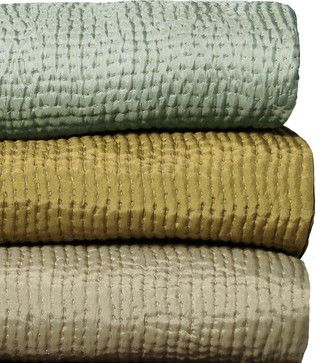Aqua King Quilted Silk Coverlet transitional-quilts