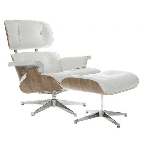 Кресло Eames Style Lounge Chair Ottoman белая кожа/орех Москва