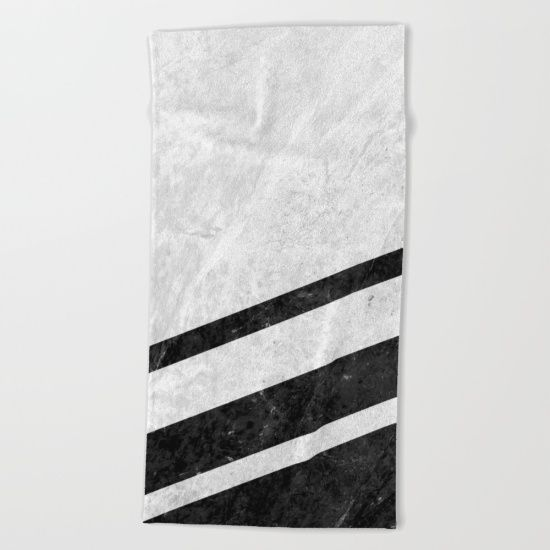 Digital design with stripes of black marble over a background of white pattern marble. #marble #stone #texture #pattern #black #white #stripe #striped #towel