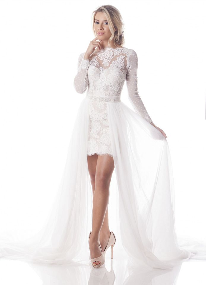 olia zavozina beach wedding dresses with tulle overskirt lace illusion neckline long sleeve beaded belt mini corset bridal gow