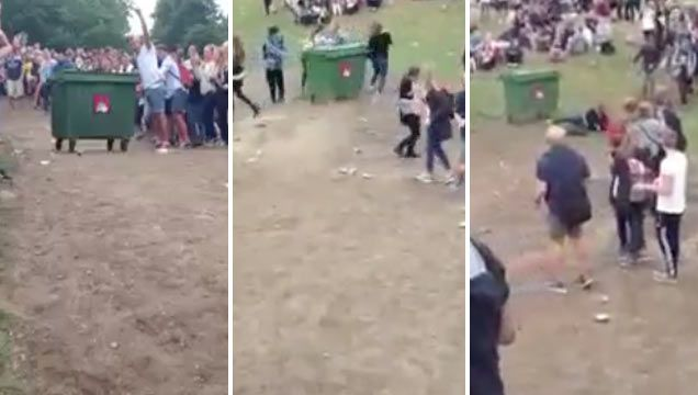 Girl Gets Rocked By Garbage Dumpster At A Music Festival