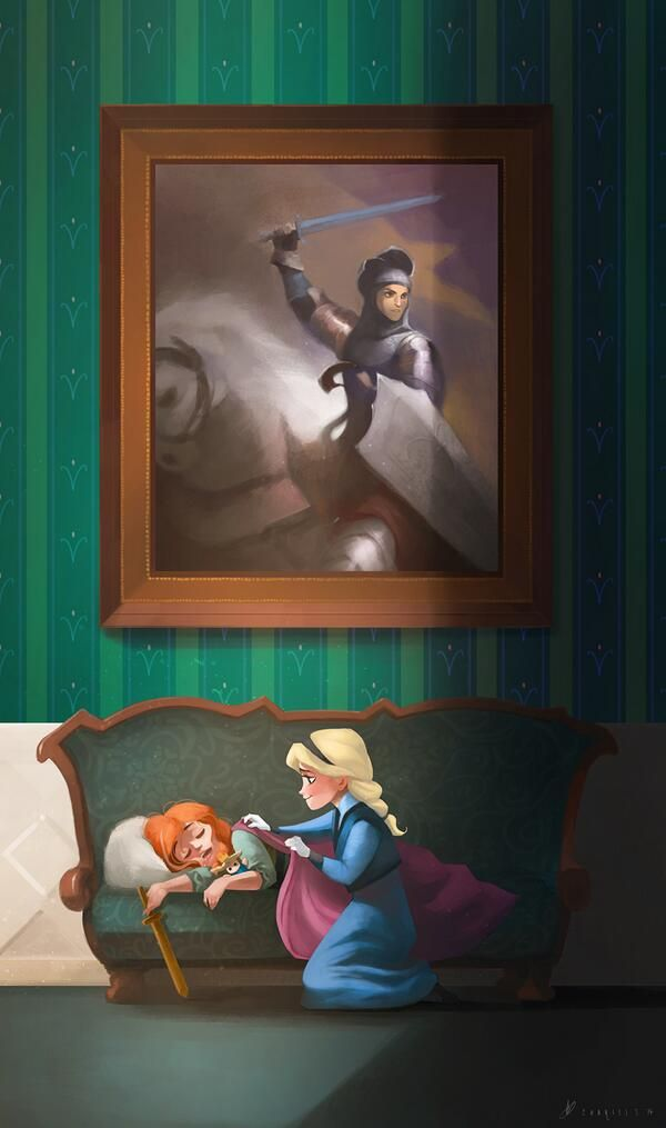 Frozen Movie Sitting On Couch Large Family Portrait Hang In There Joan