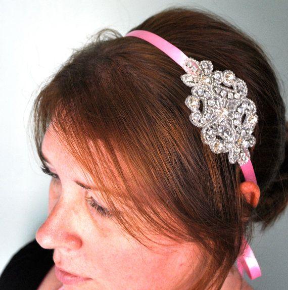 Rhinestone Headband Silver Pink Ribbon by SomethingColorful, $25.00  #ibhandmade