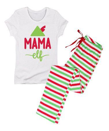 Look at this #zulilyfind! White & Red 'Mama Elf' Pajama Set - Women #zulilyfinds
