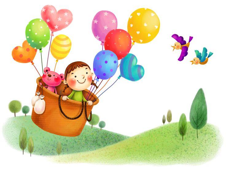 imagenes niña en un globo aerostatico en dibujo animado - Buscar con Google