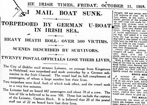 Irish Times 11th October 1918 rms leinster - Google Search
