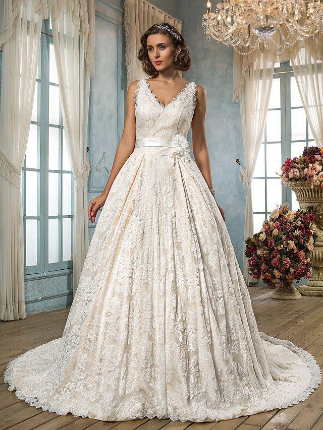 Lanting Bride® Linha A Pequeno / Tamanhos Grandes Vestido de Noiva - Clássico e atemporal / Glamouroso e Dramático Inspiração Vintage - BRL R$574,57