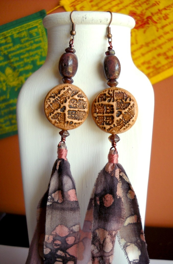 Love these polymer clay bead earrings with batik fabric