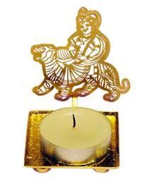 Buy Goddess Durga Mata golden Machine Cutting Work Festive Diya with Wax diya online