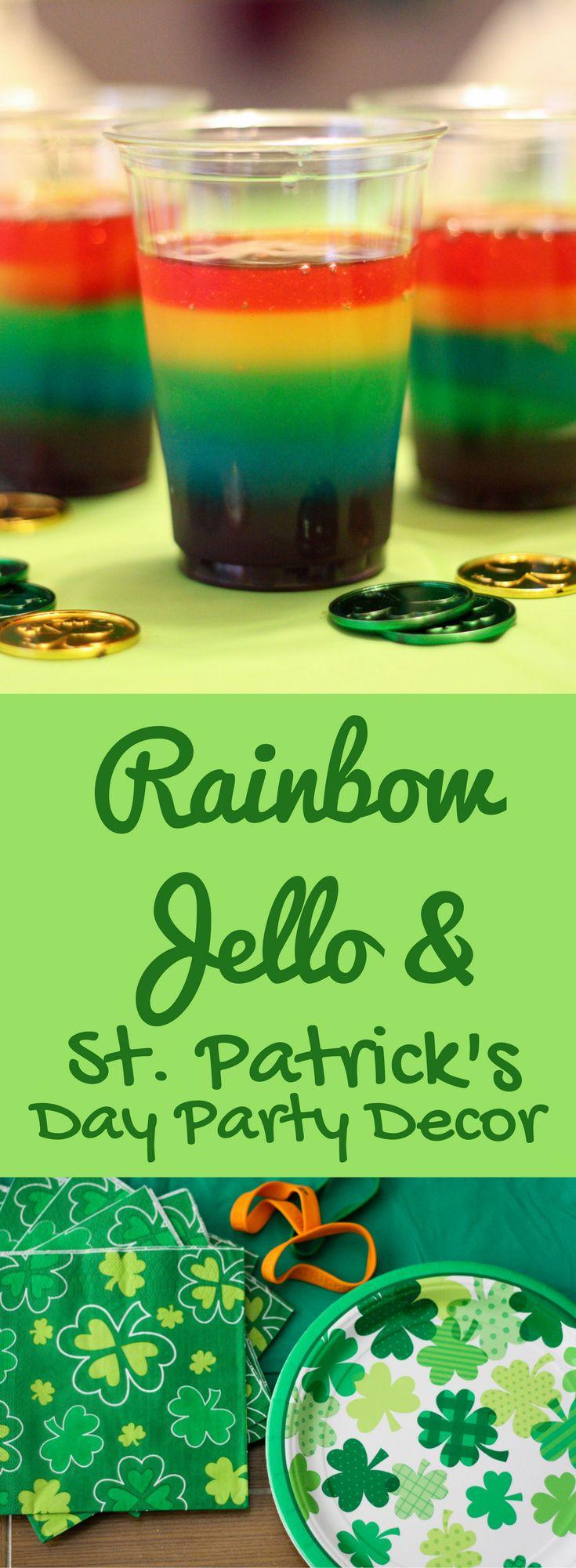 Rainbow Jello and St. Patrick's Day Party Decor