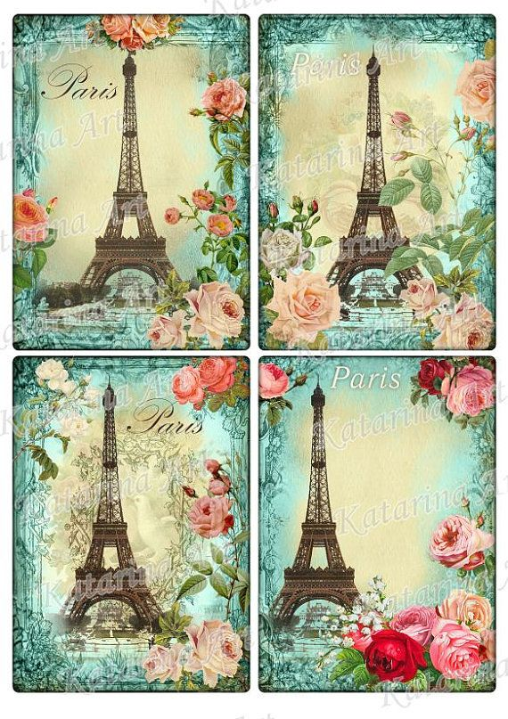 Eiffel tower April in Paris roses. Vintage Shabby by KatarinaArt, $4.89  https://www.etsy.com/listing/96221734/eiffel-tower-april-in-paris-roses?utm_source=google&utm_medium=product_listing_promoted&utm_campaign=supplies_low&gclid=CJKgmN_w8L0CFZRr7AodIngAaQ