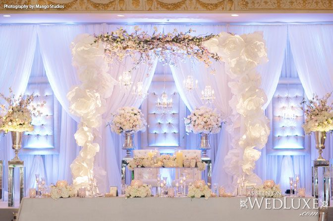 Wedluxe all white wedding decor and floral from event for All white wedding decoration ideas