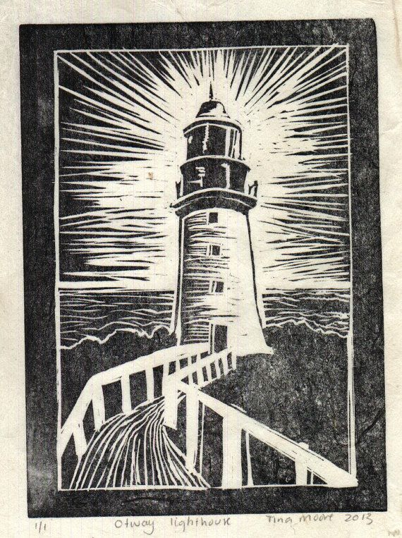 Otway lighthouse lino print by TinasPrints on Etsy, $50.00
