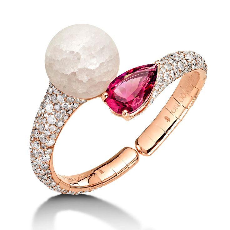 Boule frozen quartz and rubellite bracelet   de GRISOGONO   The Jewellery Editor