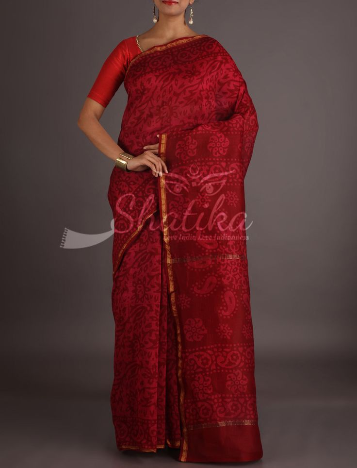 Shilpa Maroon On Red Lace Border Full Bloom Bagh Print Saree